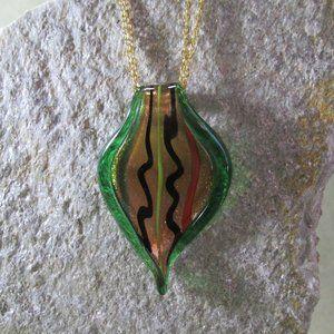 Sculpted Art Glass Pendant GREEN GOLD Necklace